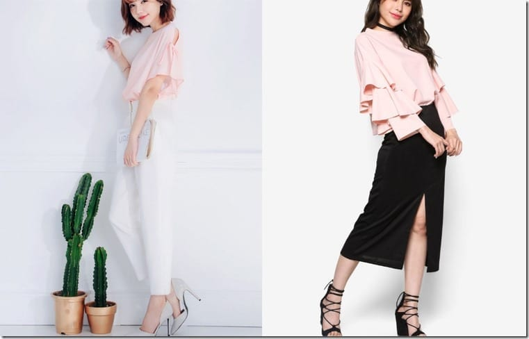 How To Wear Blush Pink Blouses With Dramatic Statement Sleeves?