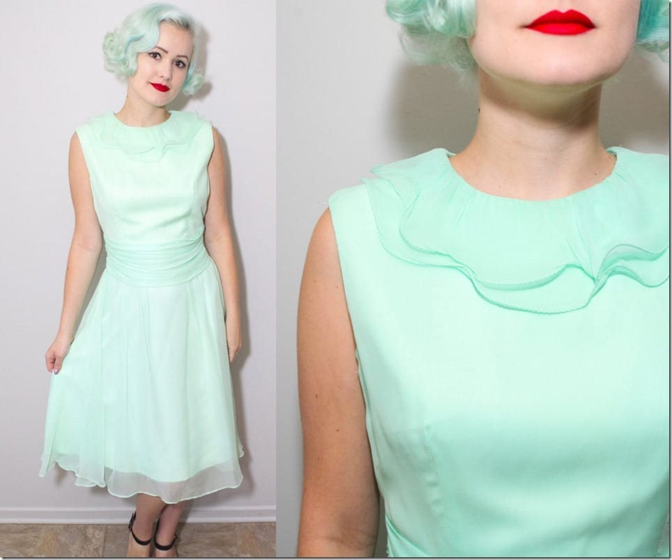 60s-vintage-ruffle-collar-mint-party-dress