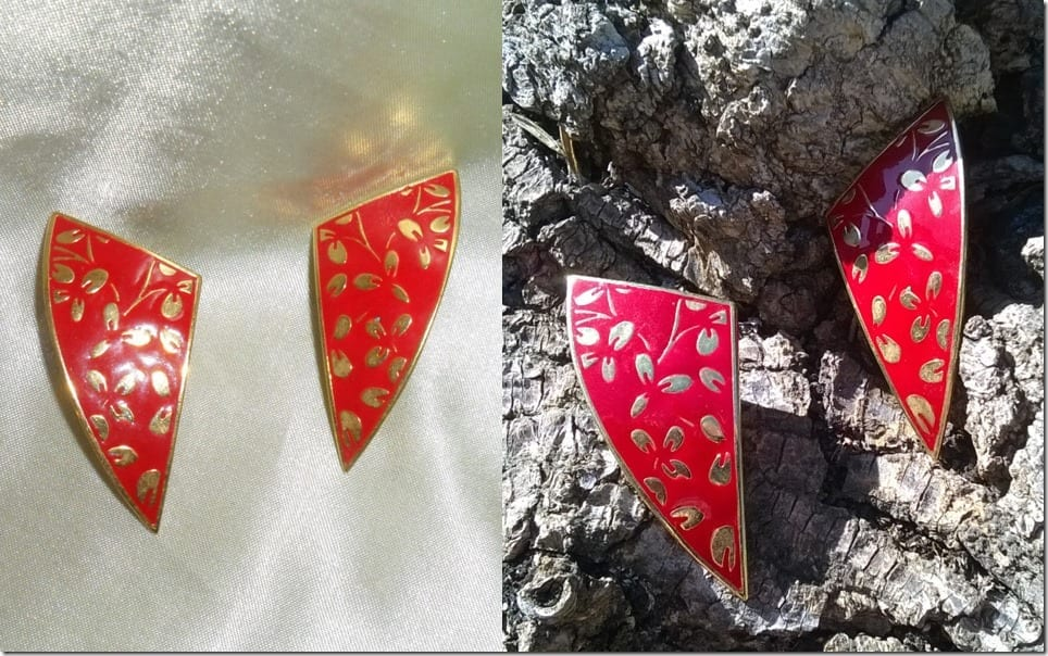 80s-vintage-gold-red-triangle-earrings