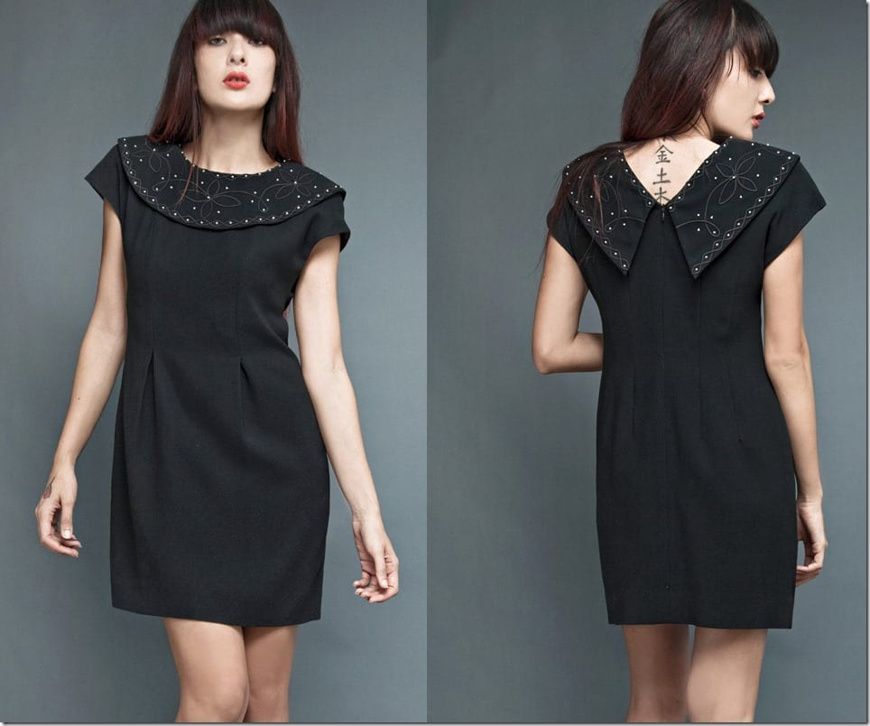 black-90s-mini-dress-wide-collar