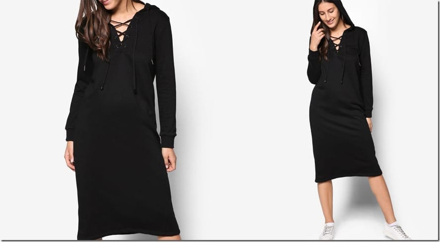 black-hoodie-midi-dress