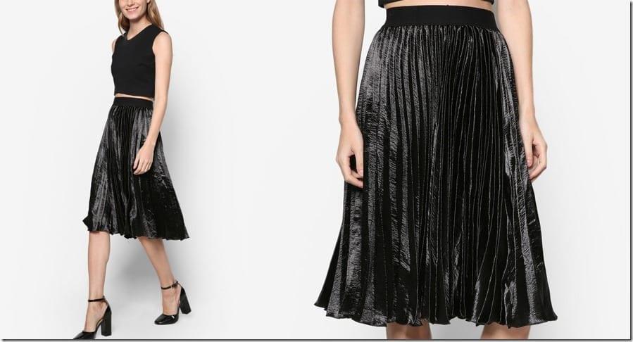 black-pleated-satin-midi-skirt