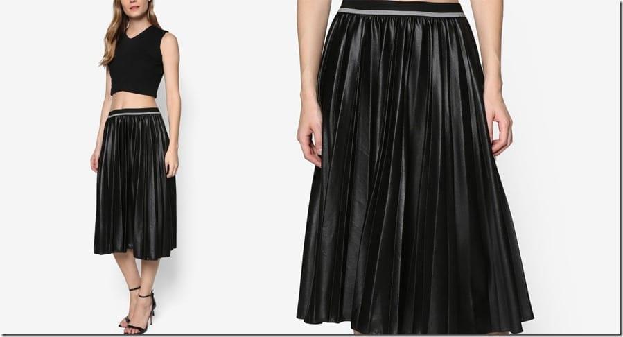 black-reflective-pleated-midi-skirt