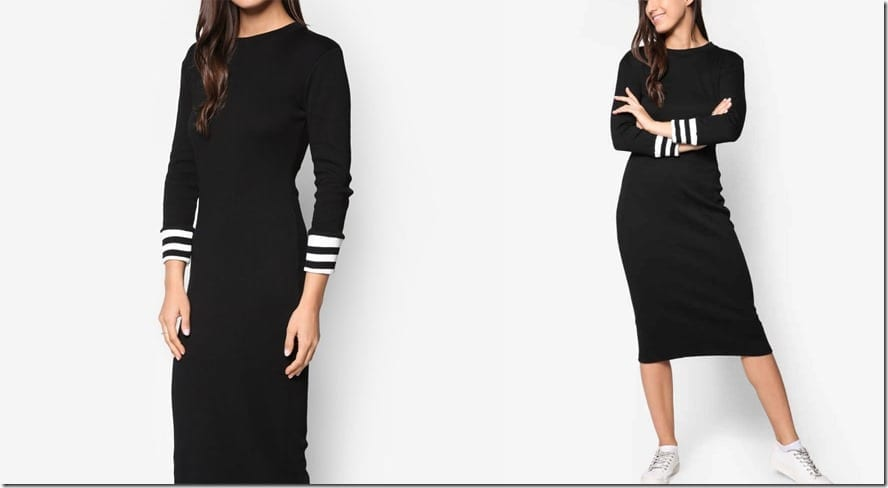 black-varsity-stripe-midi-dress