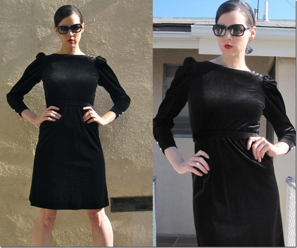 black-velvet-dress-pearl-puff-sleeves