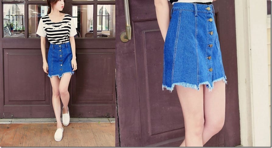 distressed-hem-mini-denim-skirt
