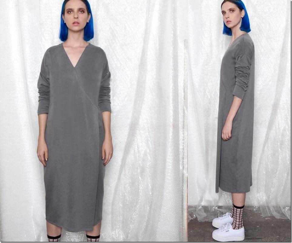 drop-shoulder-side-pleat-midi-grey-dress