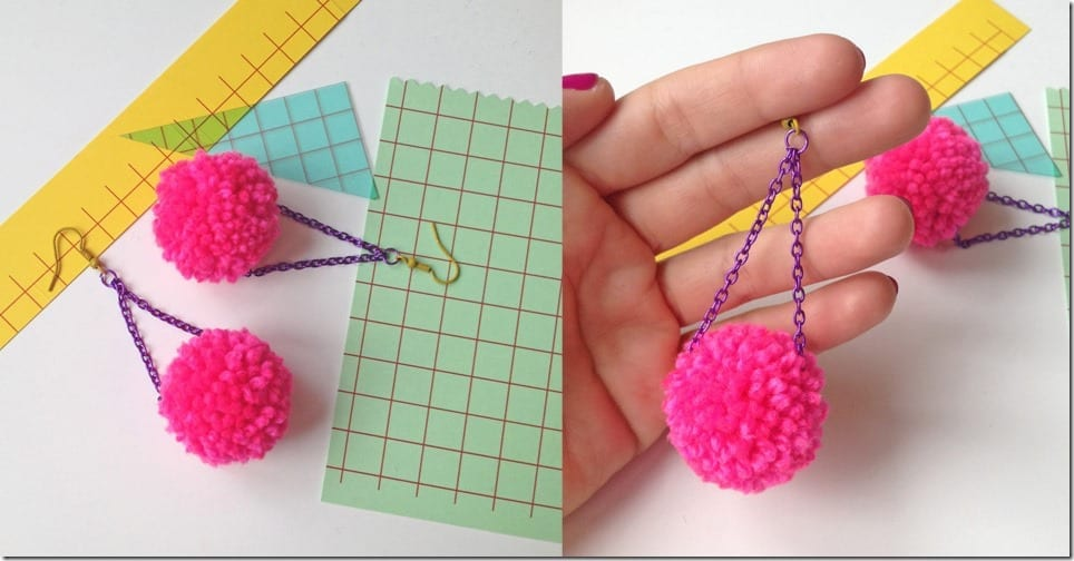 fluffy-hot-pink-pom-pom-earrings