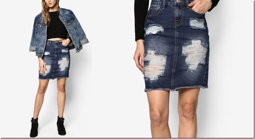 frayed-distressed-denim-skirt