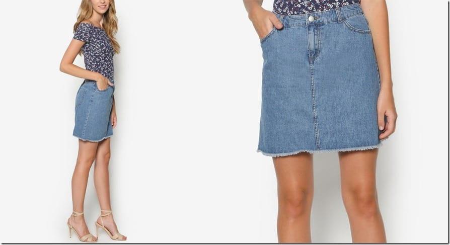 frayed-hem-denim-skirt
