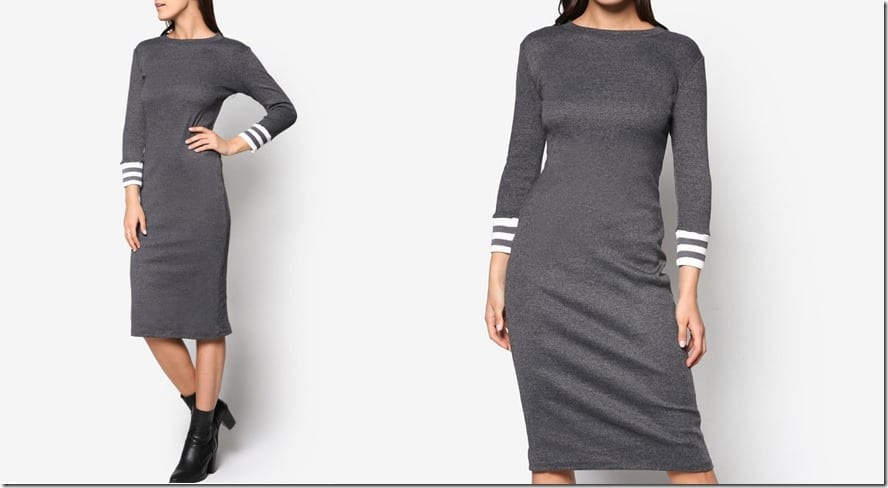 grey-melange-varsity-stripe-midi-dress