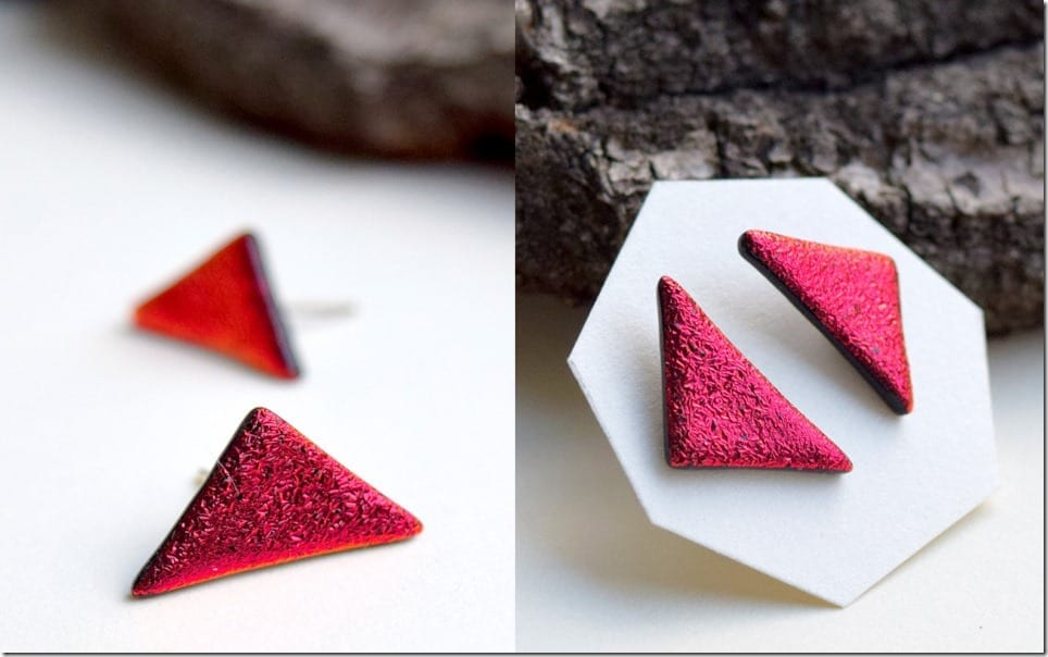 grunge-red-triangle-glass-earrings