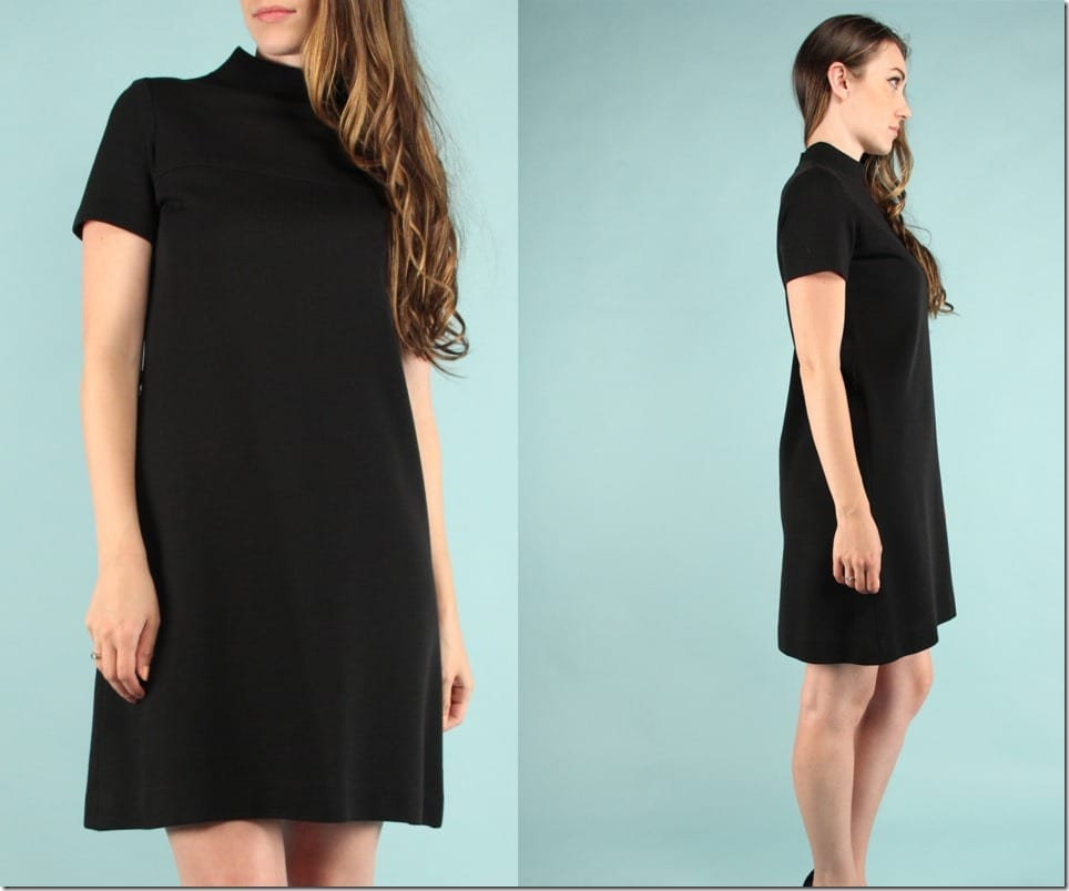 high-neck-short-sleeve-60s-black-dress