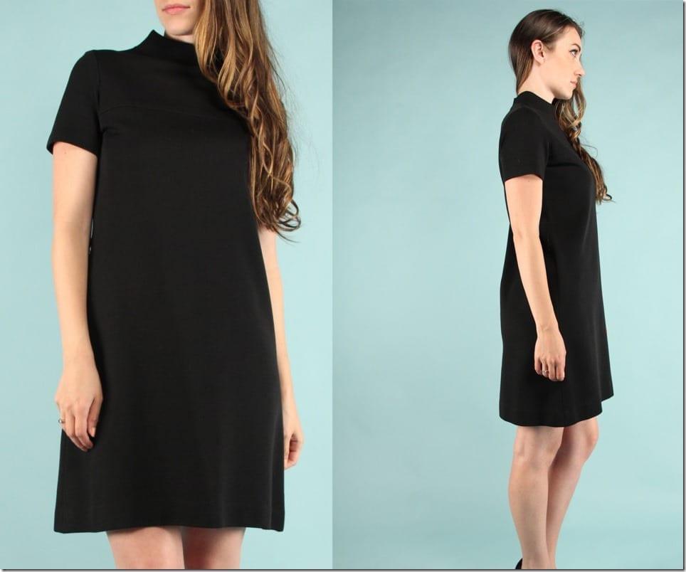 high-neck-short-sleeve-60s-black-dress