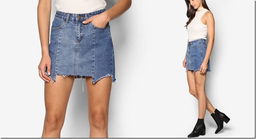 jagged-edge-denim-skirt