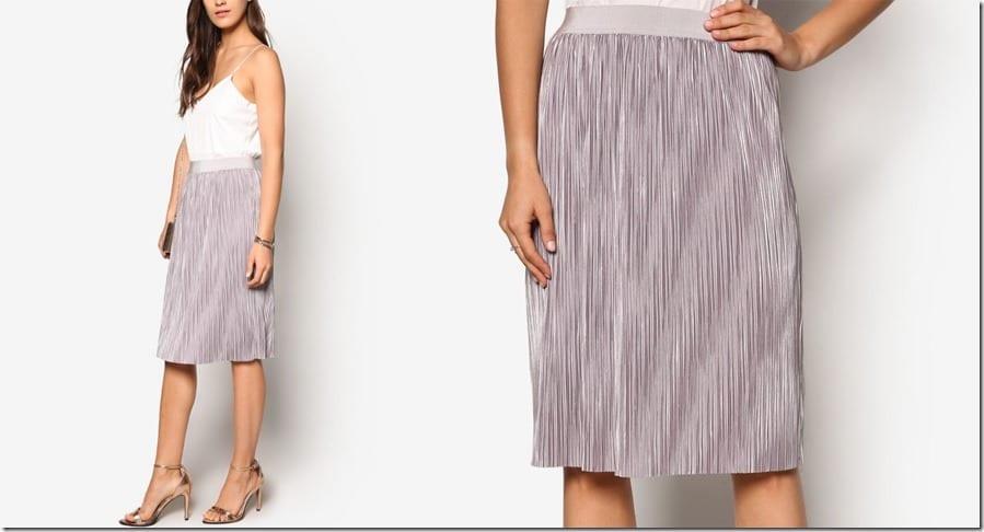 lavender-metallic-pleated-skirt