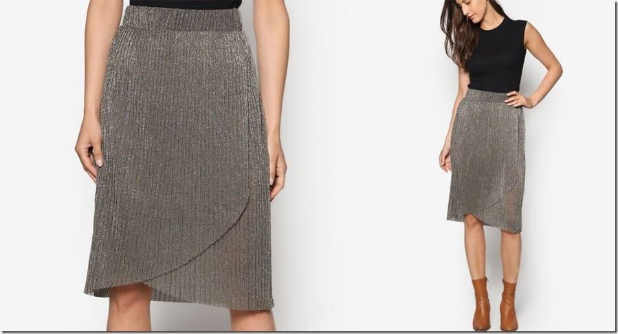 metallic-overlay-pleated-midi-skirt
