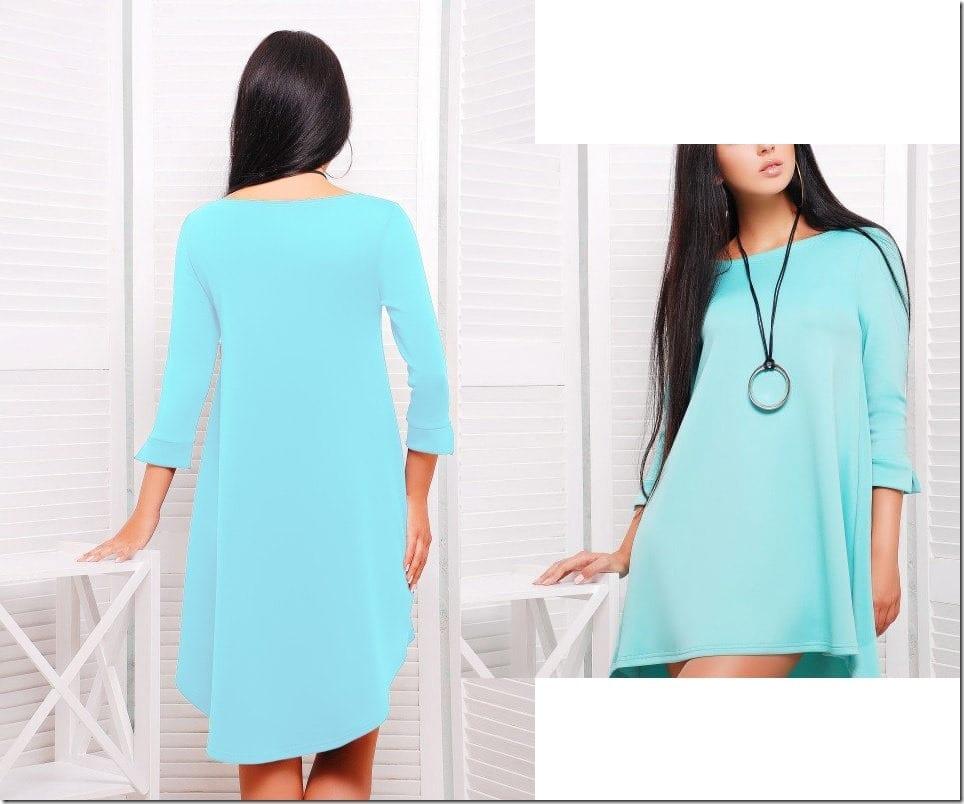 mint-green-asymmetric-hem-dress