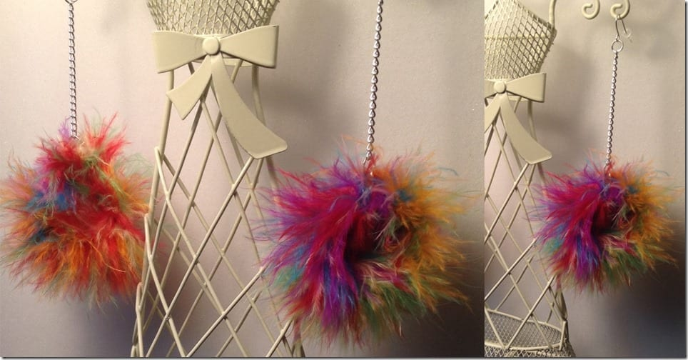 multicolor-feather-pom-pom-earrings