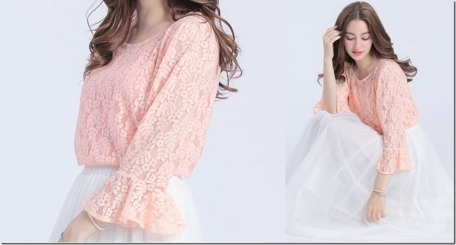 pink-lace-ruffle-sleeve-top