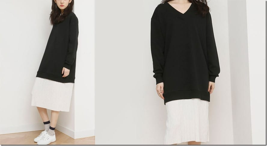pleated-hem-sweater-dress