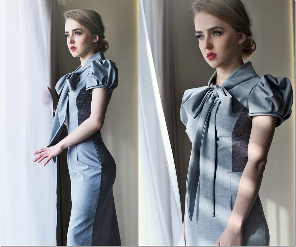 puff-sleeve-bow-tie-pencil-grey-dress