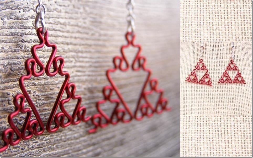 red-fractal-triangle-earrings