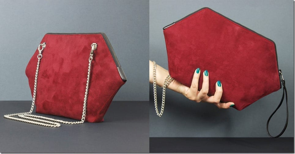 red-geometric-hexagon-clutch
