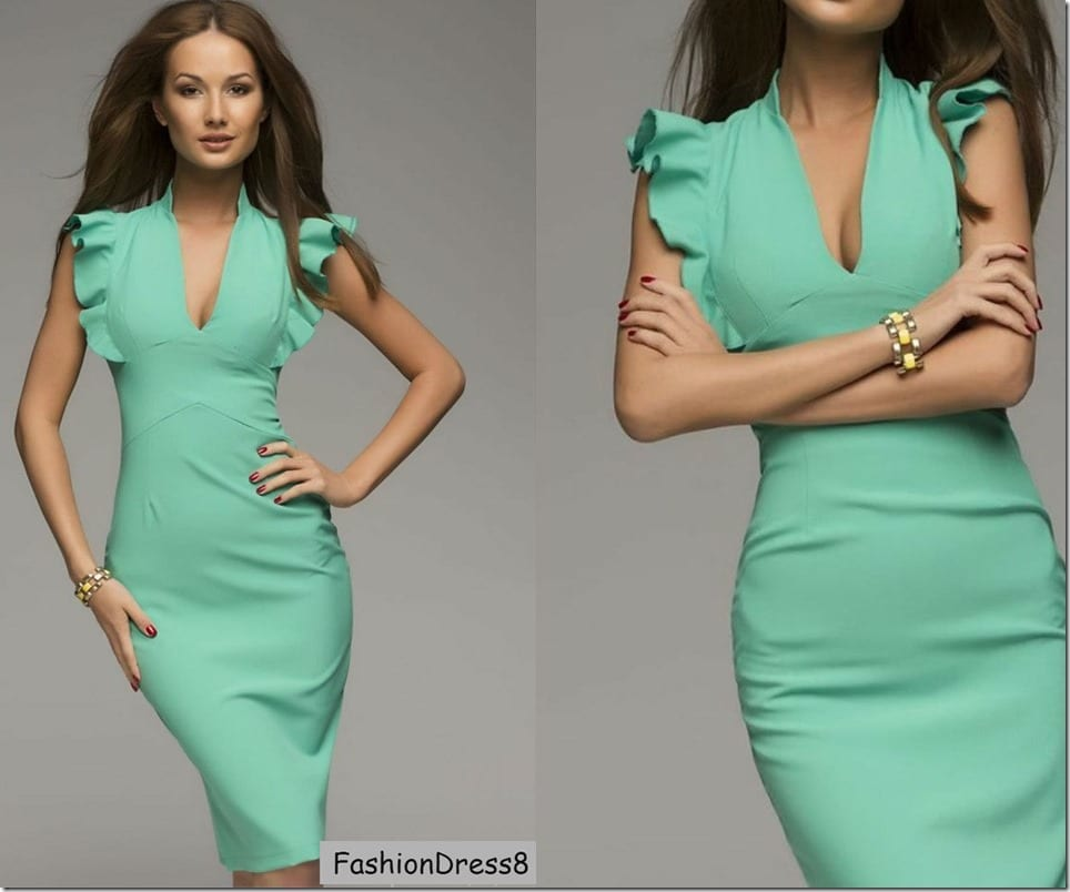 ruffle-sleeve-mint-bodycon-midi-dress