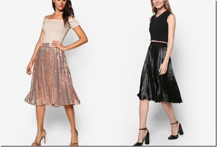 Shine Literally In These Sparky Party-Ready Pleated Midi Skirts