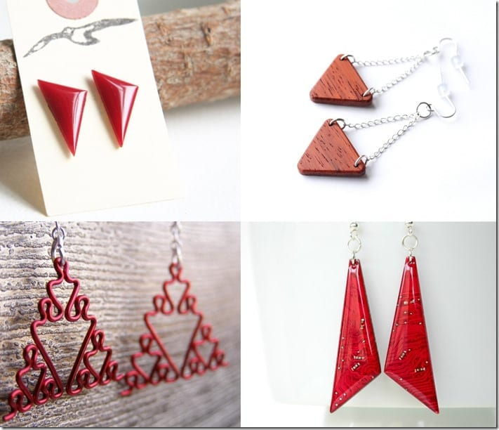 10 Festive RED Triangle Earrings For Christmas 2016