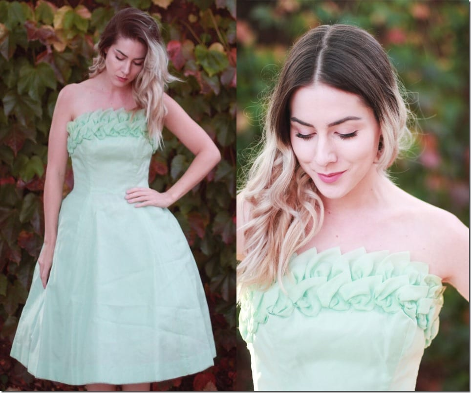 strapless-50s-vintage-mint-mini-dress