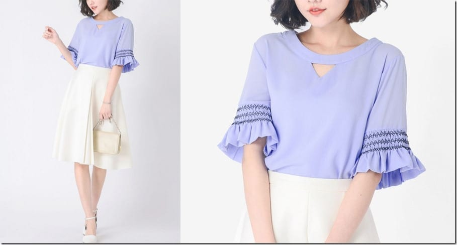 sweet-blue-ruffle-sleeve-blouse
