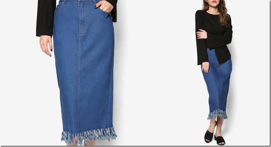 tassel-fringe-denim-skirt
