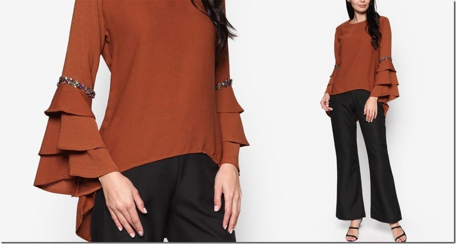 tiered-flare-sleeve-brown-blouse