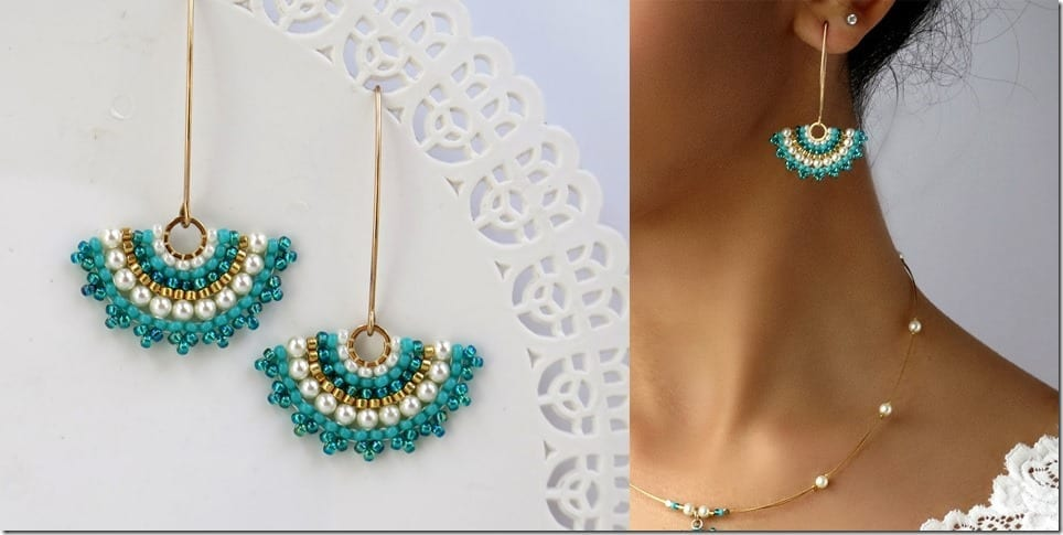 turquoise-bead-fan-earrings