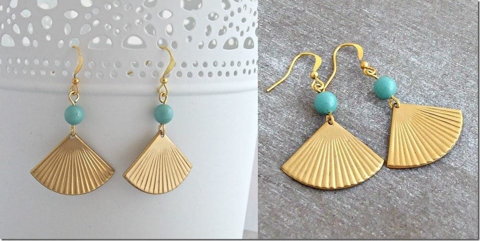 turquoise-gold-fan-earrings