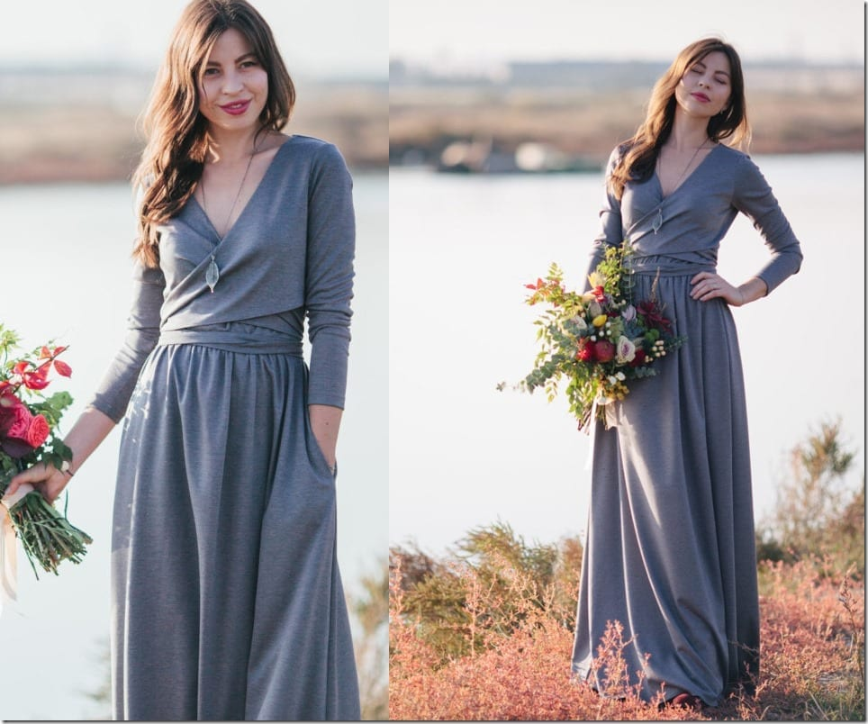 wrap-style-front-maxi-grey-dress