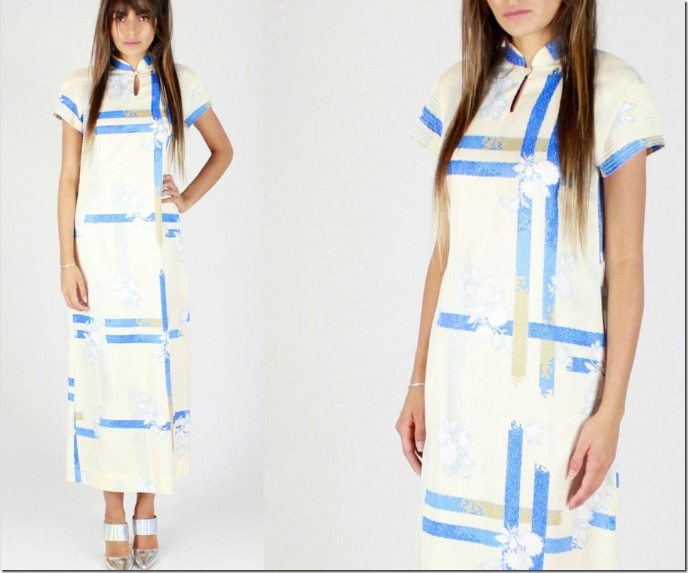 70s-floral-plaid-long-qipao-dress