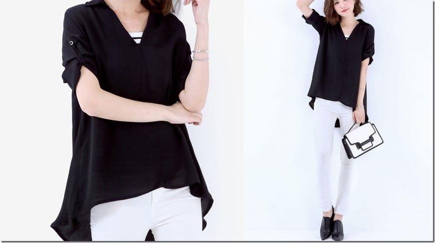black-back-button-dip-hem-blouse