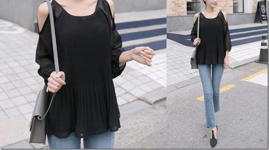 black-cold-shoulder-pleated-hem-top