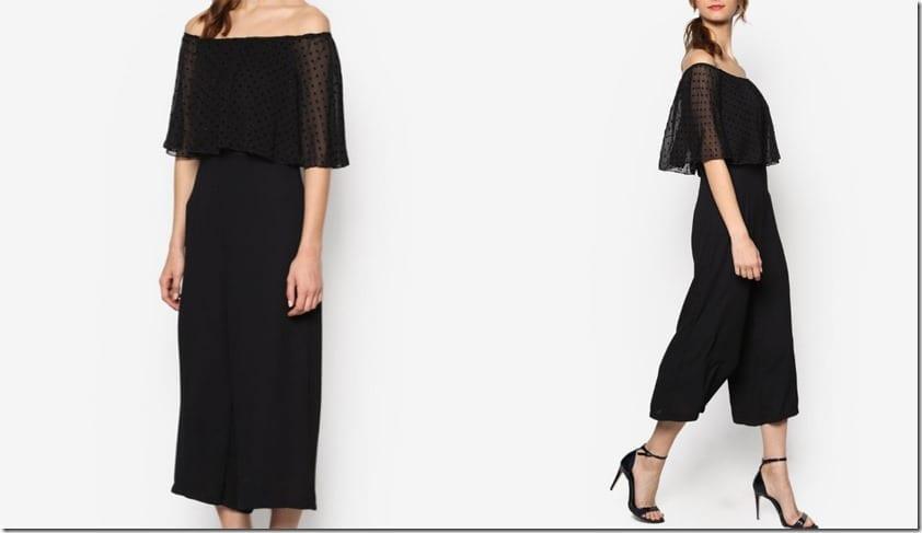 black-dotted-off-shoulder-chiffon-jumpsuit