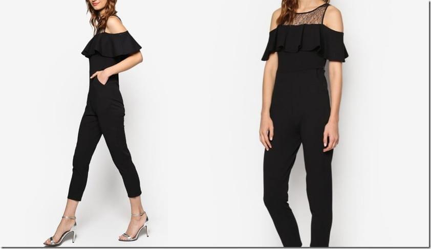 black-lace-frill-trim-cold-shoulder-jumpsuit
