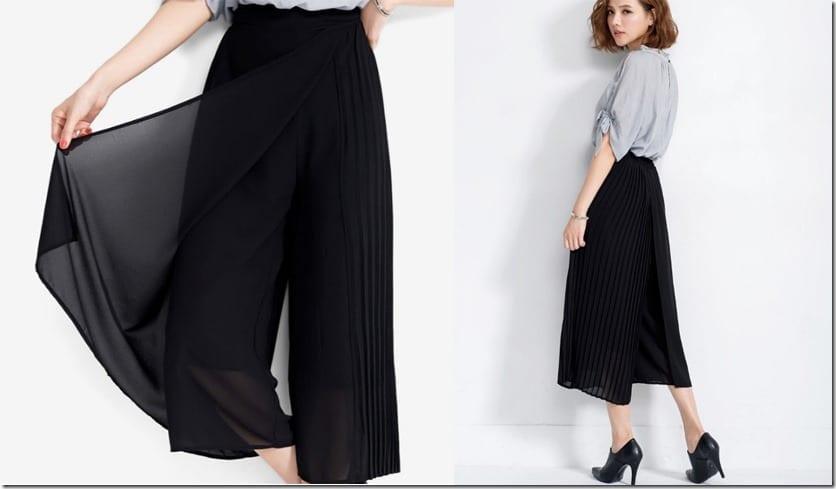 black-side-pleated-overlay-culottes