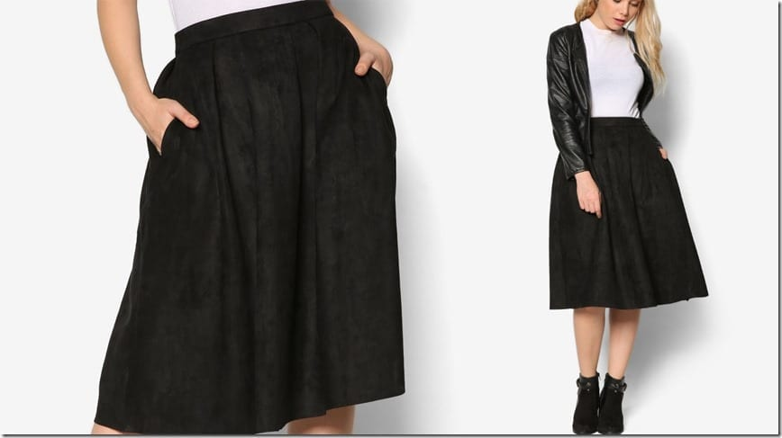 black-suede-pleated-midi-skirt