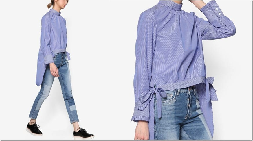blue-cuffed-uneven-hem-side-bow-blouse