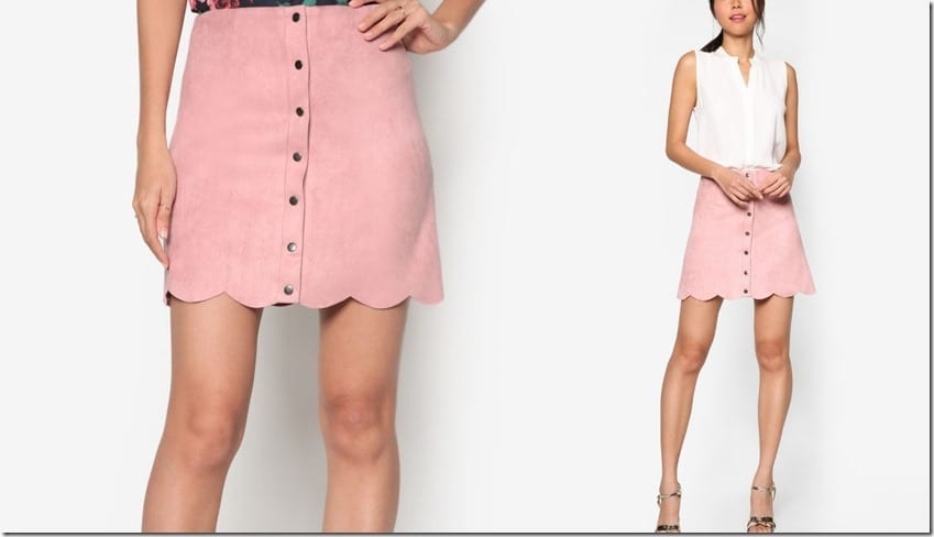 dusty-pink-suede-scallop-hem-skirt