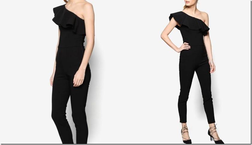 one-shoulder-black-ruffle-jumpsuit