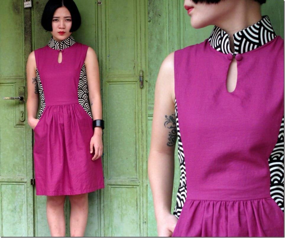 purple-wave-contrast-qipao-dress
