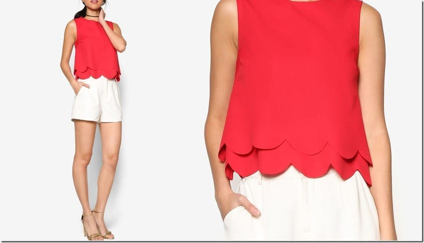 red-double-layer-scallop-hem-top
